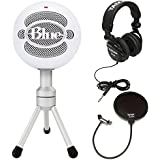 Blue Microphones Snowball Ice Microphone with Knox Pop Filter & Studio Headphones