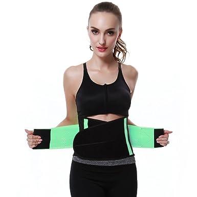 fdc4835b98a FeelinGirl Women s Adjustable Waist Trimmer Belt Body Shaper Back Brace  Size S Green