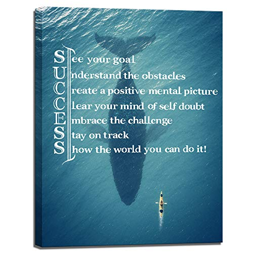 Visual Art Decor Success Inspirational Quote Canvas Wall Art Motivational Motto Framed Giclee Prints Home Office Decoration (03 Success, ()