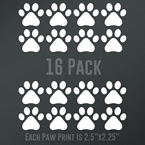 DD892 Dog Paw Prints 16-Pack | Each paw 2.5-Inches By 2.25-Inches | Premium Quality White Vinyl
