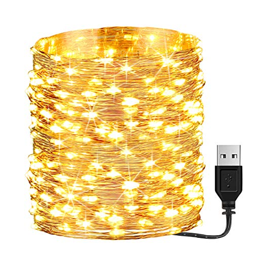 GDEALER 66ft 200 Led USB Powered Fairy Lights, Waterproof String Lights for Bedroom Indoor Outdoor Wedding Halloween Christmas Decor Lights Warm White (Power Adapter not Included) -