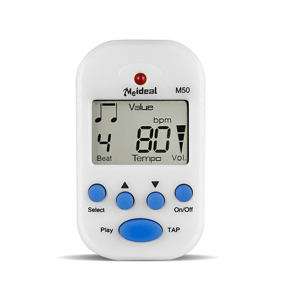 SmartElite Digital Metronome, Mini Multi-functional Clip-On LCD Digital Display Beat Tempo Instrument Metronome with Battery for Piano, Guitar, Violin, Drum, Flute etc. (White)