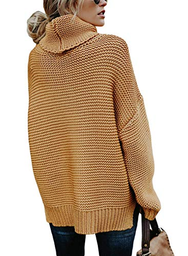 MQ Womens Cowl Neck Oversized Sweater Chunky Cable Knitted Jumper Turtleneck Sweater Lose Long Sleeve Pullover (X-Large, Khaki)