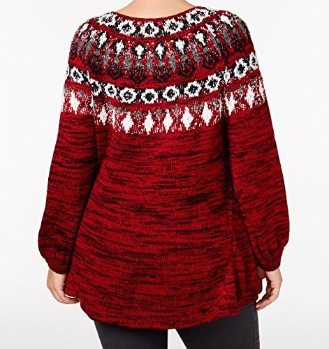Style & Co. Womens Plus Fair Isle Space Dyed Pullover Sweater Red 2X