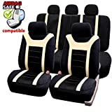 Akhan SB204 Quality Car Seat Covers Universal Cover with Side Airbag Seat Cover, Black/Beige