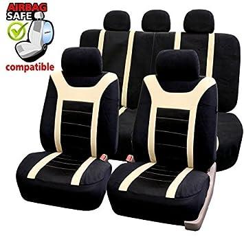 Amazon.es: akhan SB204 - Calidad Asiento de Coche Asiento Fundas schonbezüge DGX650 con airbag Lateral Negro/Beige