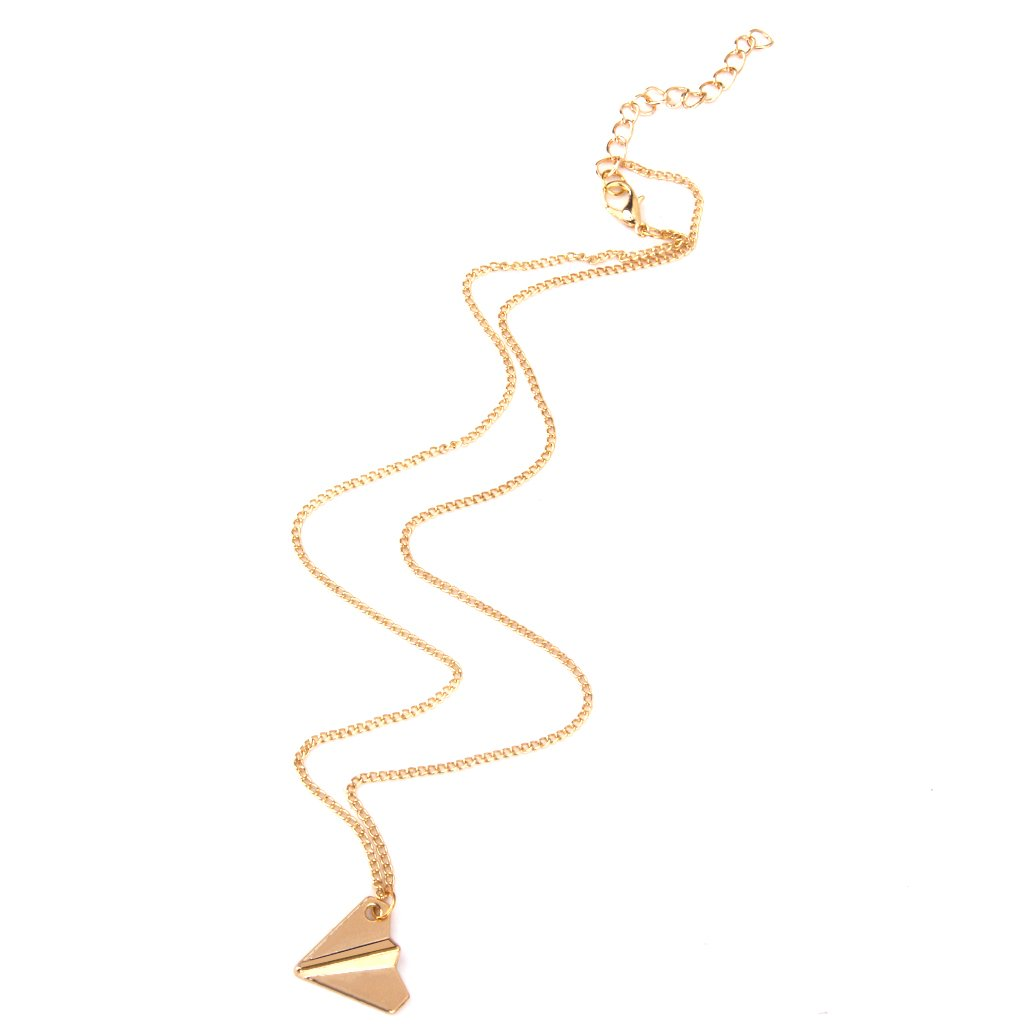 Fashion Paper Airplane Designed Pendant Necklace Inspired Jewelry Gold Generic