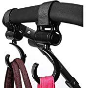 Stroller HooksMulti Purpose HookHanger Clipsfor Diaper Bags,Purses,Shopping Bags,PerfectStrollerAccessory forFree Your Hands (Black)