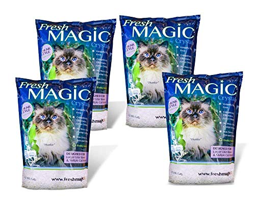 FreshMAGIC Large Chunk Style Low-Dust Crystal Cat Litter, 8 lb. Bag, White Crystals, - Round Crystal Mop
