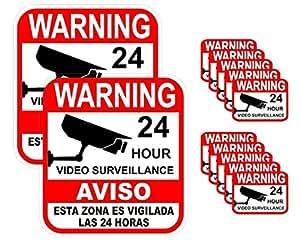 12-Pcs Peerless Popular Warning Sticker Decal Signs Anti-Burglar Video Recording 24Hr Business Alarm 2-Large 10-Small