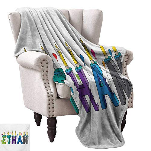 """Price comparison product image WinfreyDecor Ethan Reversible Blanket Celebration Themed Candles and Bitten Cake Popular Male Name Birthday Party Image All Season Light Weight Living Room 70"""" Wx93 L Multicolor"""