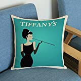 Etrony Retro Cotton Linen Audrey Hepburn Sofa Couch Pillow Cover Cushion Case (!#)