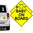 Safest Baby On Board Car Magnet Stickers Signs | Unobstructed View | Reflective & Reuseable | No Fade Weather Resistant UV Printing | Must Have Travel Accessories for Safety | Baby Gift | Medium