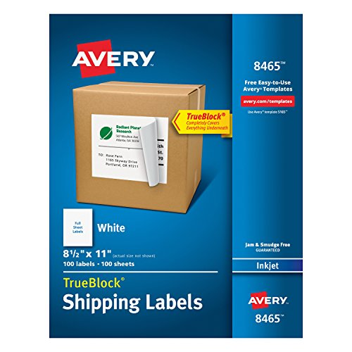 Avery Shipping Address Labels, Inkjet Printers, 100 Labels, Full Sheet Labels, Permanent Adhesive, TrueBlock (8465) (Sheet 100 Label Address)
