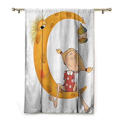 S Brave Sky Customized Roman Curtains,Teen Girls Decor,Little Girl Sitting Barefoot on Moon with Eye and Lamp Childhood Mystery Theme Cartoon,Orange ()