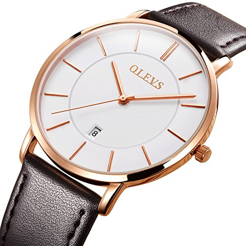 OLEVS Men's Ultra Thin Alloy Watches Quartz Analog Calendar Date Window Business Casual Slim Wristwatch Waterproof 30M 3ATM White Gold Dial Brown Genuine Cowhide Leather Band Simple Classic Gift YPF (Roman Brown Dial)