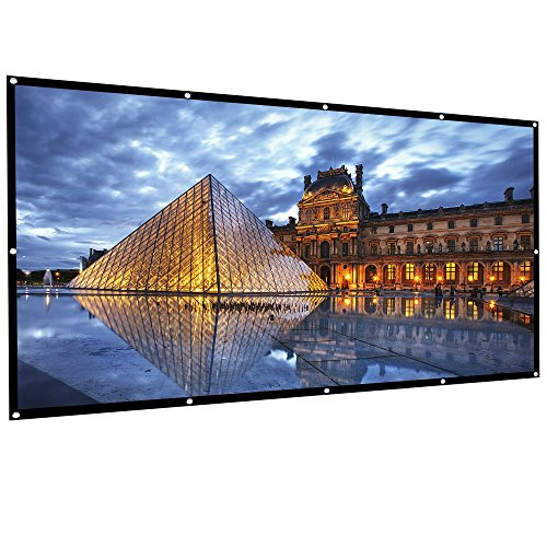Outdoor Projector Screen, HUKOER 100 Inch 16:9 Portable Projector Screen Foldable Anti-Crease Thick Indoor Outdoor Home 4K HD Movie Screen Support Front Rear Projection by H HUKOER