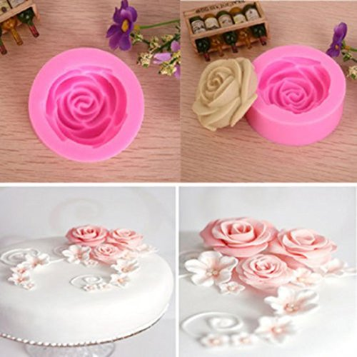 Denshine® 3D Mini Silicone Rose Flower Cake Mould Topper Cu