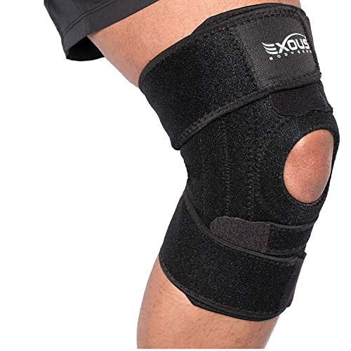 EXOUS Knee Brace Support Protector - Relieves Patella Tendonitis - Jumpers Knee Mensicus Tear - ACL Lateral & Medial Ligament Sprains Comfort Design True Non-Slip FIT for Arthritis - Sport - Running ()