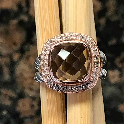 Natural 2.5ct Smoky Topaz 14k Rose Gold, 925 Solid Sterling Silver Rose Cut Designer Rope Ring sz 6, 7, 8, 9 ()