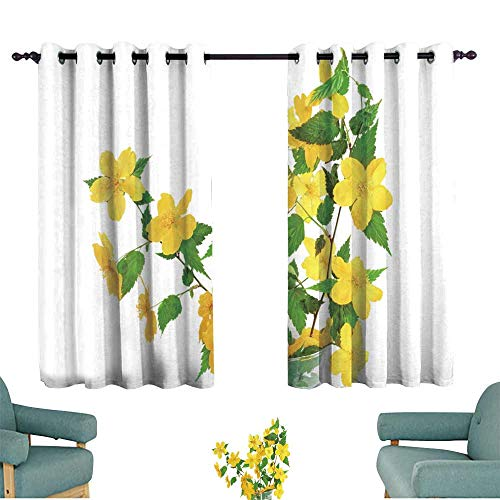 WinfreyDecor Fashion Curtain Marsh Marigold Yellow Wildflowers in vase Isolated on White bac Suitable for Bedroom Living Room Study, etc.55 Wx45 L
