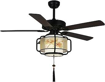 Lámpara de madera maciza para ventilador chino de 4 hojas, luz LED ...