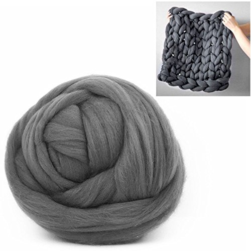Giant Wool Yarn Chunky Arm Knitting Super Soft Wool Yarn Bulky Wool Roving (250g/0.55 lbs, Dark Grey)