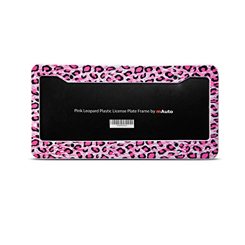 "mAuto License Plate Frame Premium Plastic Number Plate Frame Holder w/Pink Leopard Fits Standard 6"" x 12"""