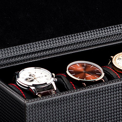 TGDY Watches Jewelry Bracelets Display Collection Storage Boxe Case Solid Wood Advanced PU Black by TGDY (Image #4)