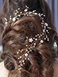 Bridalvenus Wedding Hair Vine Gold Headband Bridal Branch Crystal Wreath Bridal Vine Rose Hair Vine Gold Bridal Hair Wedding Hairstyle for Bride and Bridesmaid - 19.68inches
