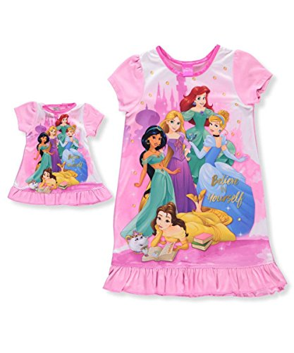 Princess Nightie (Disney Little Girls' Multi-Princess Nightgown, Princess Pals, 4)