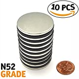 "Neodymium Magnets | Grade N52 Disc Magnet | Strongest Rare Earth Magnetic Flux | Ideal Size 1.26""D x 1/8""H 