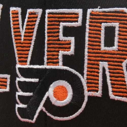 Reebok Philadelphia Flyers Black-Orange Two-Tone Striped Snapback Adjustable Hat