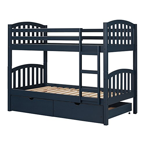 South Shore 11824 Ulysses Solid Wood Bunk Beds, Navy Blue