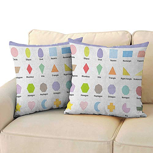 RenteriaDecor Educational,Printed Pillow Case Classical Basic 2D Shapes Colorful Design Cartoon Style Children Learning Study 14