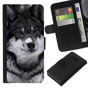 LECELL--Cuero de la tarjeta la carpeta del tirón Smartphone Slots Protección Holder For Samsung Galaxy Core Prime -- Lindo observado azul del lobo --
