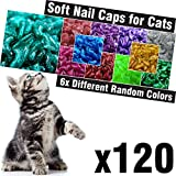 120 pcs Glitter Soft Cat Claw Caps for Cats Nail Claws 6X Different Random Colors + 6X Adhesive Glue + 6X Applicator - Pet Cap Tips Cover Paws Grooming Soft Covers (XS)