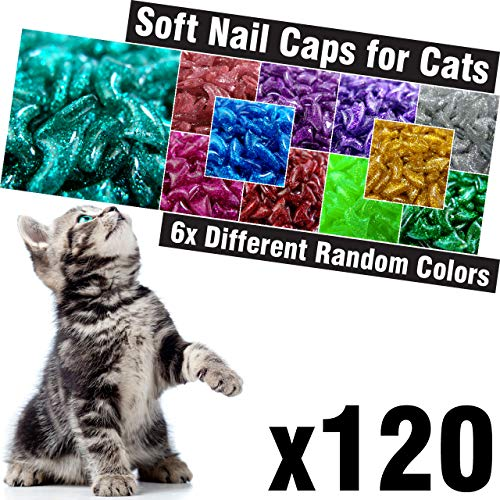 - 120 pcs Glitter Soft Cat Claw Caps for Cats Nail Claws 6X Different Random Colors + 6X Adhesive Glue + 6X Applicator, Pet Cap Tips Cover Paws Grooming Soft Covers (XS)