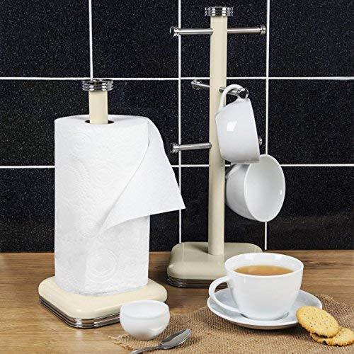 vintage dise/ño retro crema Soporte para 6 Tazas caf/é Swan Set Porta Rollos Papel de cocina acero inoxidable alta calidad