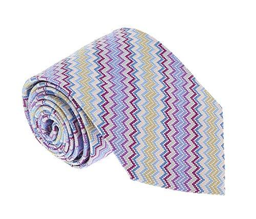 Missoni U4705 Purple/Gold Sharkskin 100% Silk (Sharkskin Tie)