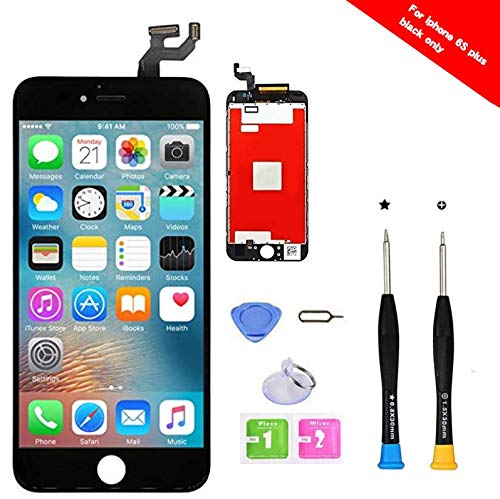 Premium Screen Replacement Compatible with iPhone 6s Plus 5.5 inch Full Assembly -LCD Touch Digitizer Display Glass Assembly with Tools, Fit Compatible with iPhone 6s Plus (Black)