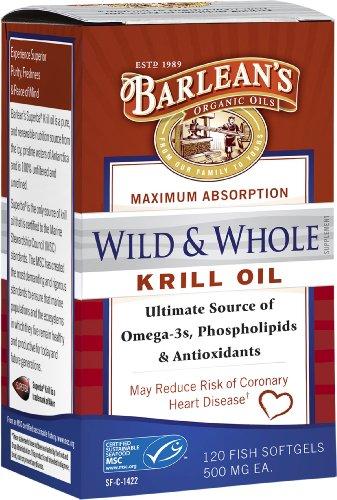 Huiles biologiques Barlean sauvages et huile de krill entier, 120 Count
