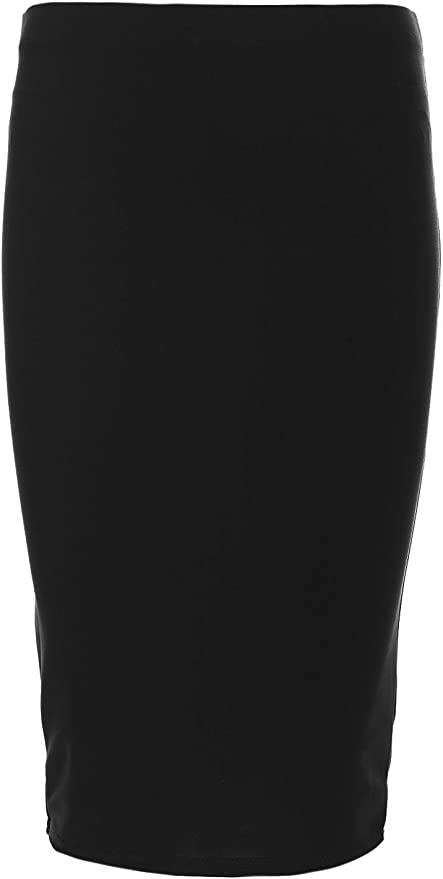 Be Jealous Kids Girls Plain Midi Stretchy Pencil Bodycon Fitted Back to School Midi Skirt