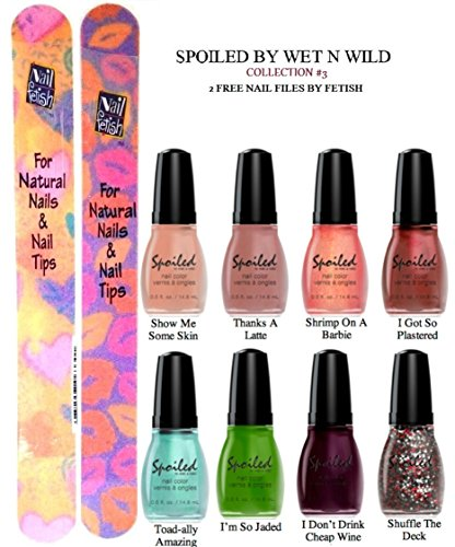 WET N WILD Spoiled Nail Color COLLECTION #3 OF 8 Shades Plus 2 Free Nail Files From fetish for Natural Nails And Nail Tips