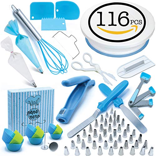 Cake Decorating Supplies Set 116 Pcs by Pepe Nero–Icing Tips, Rotating Turntable, Measuring Spoons, Icing, Tools & For Birthdays,Cookies,Piping, Baking,Frosting, Pastry, Cupcakes, Weddings & more