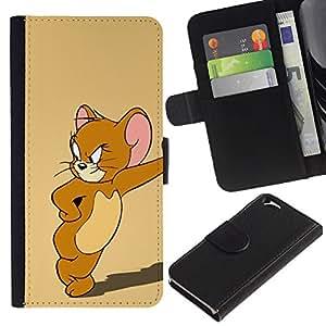 Apple (4.7 inches!!!) iPhone 6 , la tarjeta de Crédito Slots PU Funda de cuero Monedero caso cubierta de piel (Jerry Mouse Cartoon)