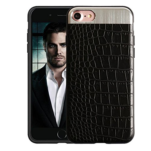 KolorFish Crocodile Leather Pattern Thin Back Business Series Case Cover for Apple iPhone 7/8  Black