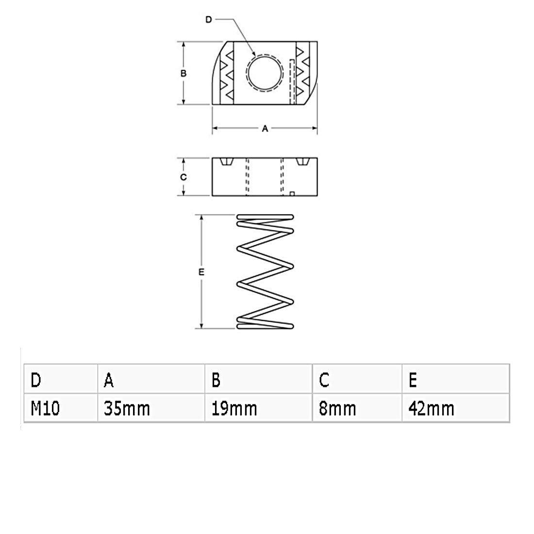 eDealMax a16041100ux1633 Noci Canale M10 x 8mm zincato Strut Lunga Primavera Canale Noci 10 pezzi per i canali B-Line