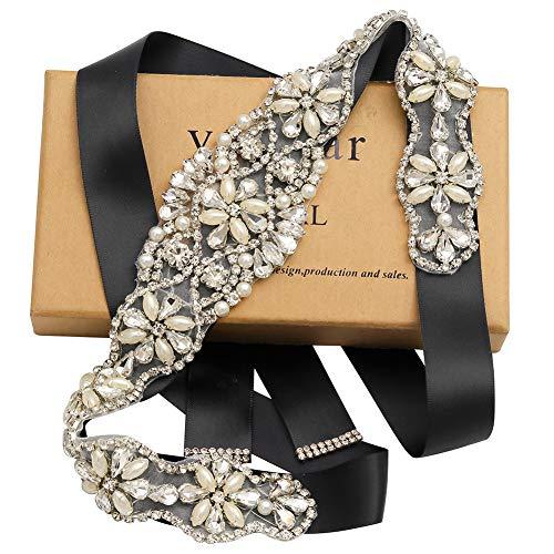 Yanstar Handmade Gold Beads Bridal Belts Sashes Wedding Belt With Rhinestone For Wedding Bridesmaid Dress (Silver-Black)