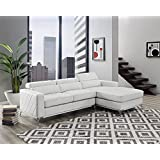 Bliss Brands Faux Leather Recliner Corner 2-Piece Sectional Sofa Set, Right-Facing Chaise (White - No Ottoman)